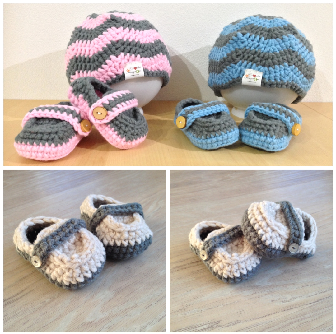 Chevron beanies and Monk Loafer baby booties