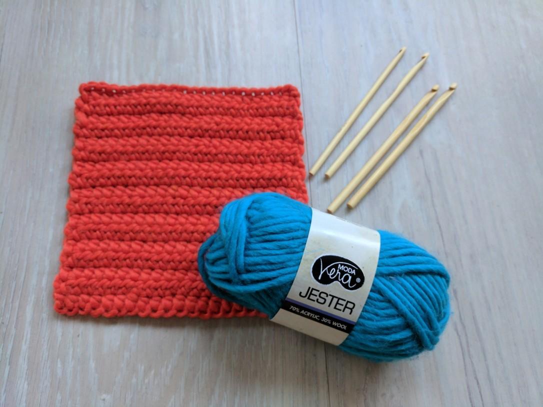 Acrylic yarn and bamboo crochet hooks