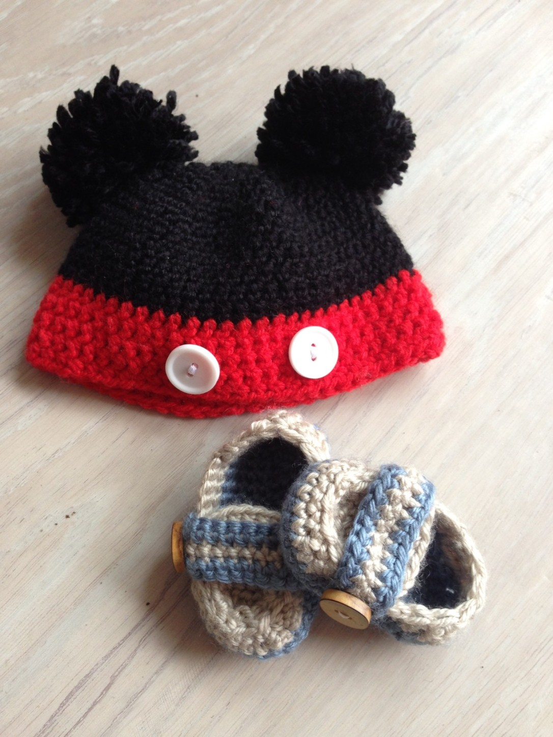Mickey Mouse beanie and Monk Loafer baby booties