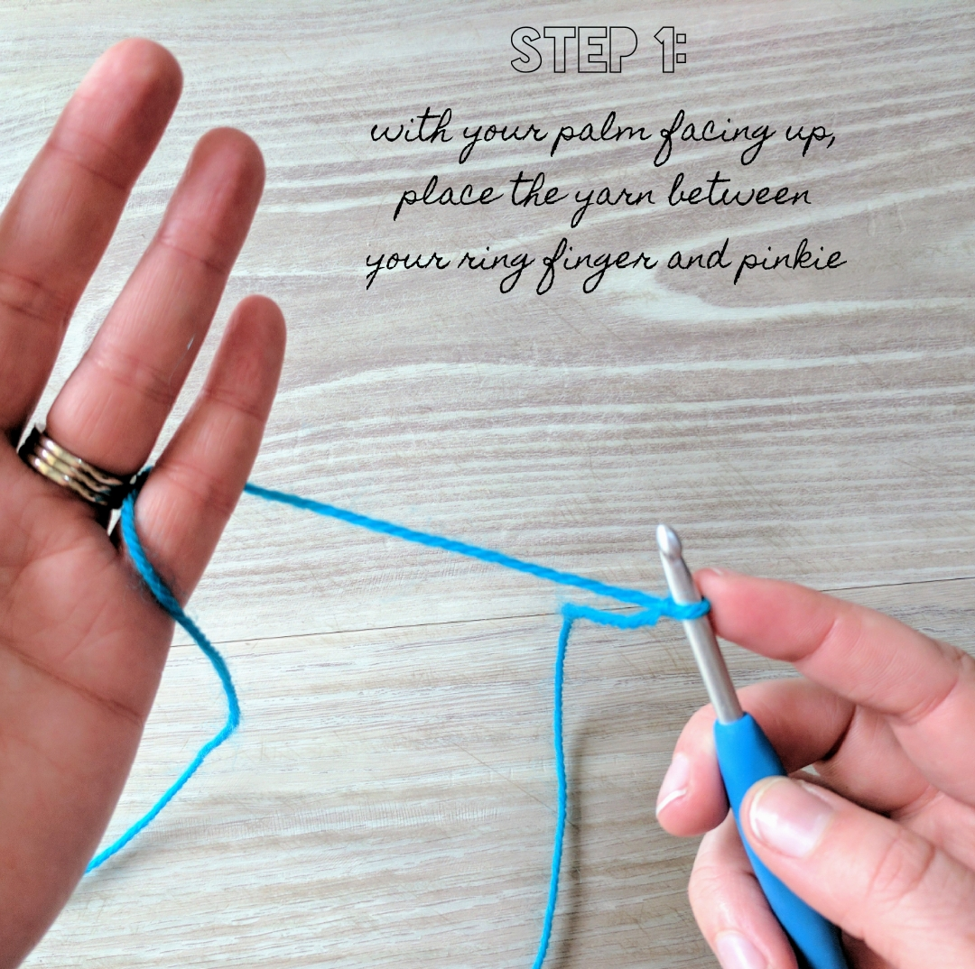 How to hold yarn - Step 1