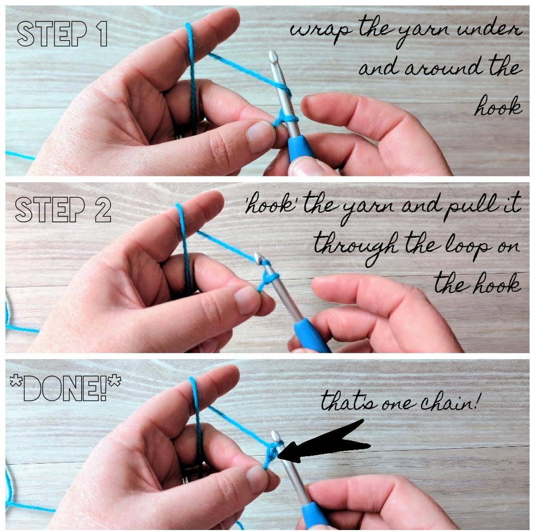 Crochet a chain - step 1-3